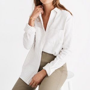Madewell white flannel button down w/ivory stripes